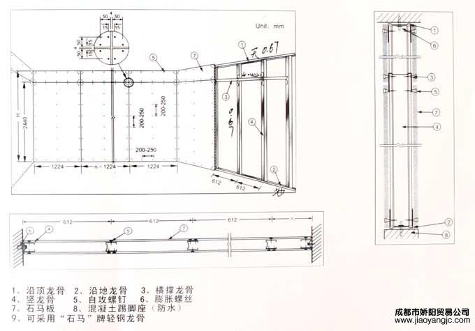 运用 轻钢龙骨隔墙系统安装技术要点    安装前须根据设计图纸标